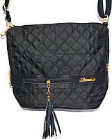Женская сумка-мешок с двумя ручками 25*29 (черный-стёган)
