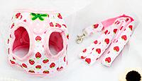 Шлейка для собаки с поводком-Розовый