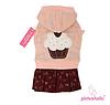 Теплое платье для собаки с капюшоном-Розовый-L