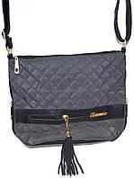 Женская сумка-мешок с двумя ручками 25*29 (серый-стёган)