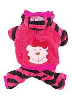 Велюровый костюм для собаки Мишка-Розовый-L