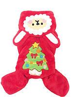 Велюровый костюм для собаки Елка-Красный