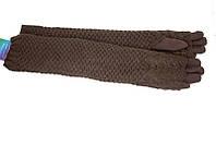 Длинные теплые перчатки в темно коричневом цвете