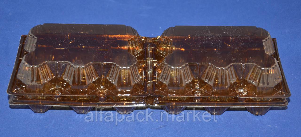 Пластиковая упаковка для яиц 12 шт (коричневая), 246*102*65