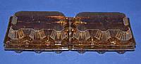 Пластиковая упаковка для яиц 12 шт (коричневая), 246*102*65, фото 1