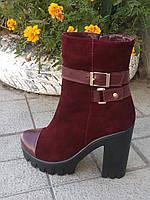 Женские ботинки на платофрме, цвет марсала