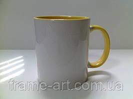 Чашка Цветная внутри желтая