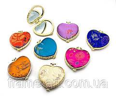 Зеркальце косметическое с вышивкой Сердце 23966