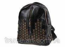 Рюкзак с золотистыми заклепками и фурнитурой, черный 9-2319