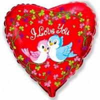 """Шар Flexmetal фольгированный Сердце 18""""(46см) Влюблённые Птички, красный 201700"""