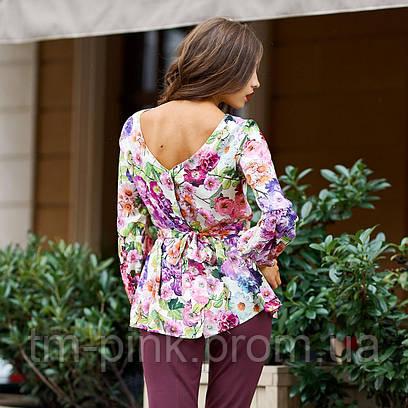 "Блуза рукав зборка ""Tiffany"" квіти"