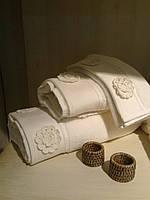 Полотенце махровое Елис с кружевными цветами Белое 30*50