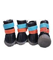 Ботинки для собак две липучки-Черный
