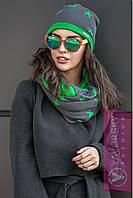 """Комплект TM YAVORSKY стильный шапка и шарф-хомут пряжа софт """"Звезды"""" разные цвета SHY48"""
