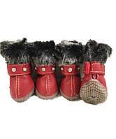 Теплые ботинки для собак -Красный