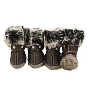 Теплые ботинки для собак -Коричневый