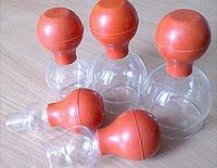 Набор вакуумных стеклянных банок с резиновой грушей 5 шт.
