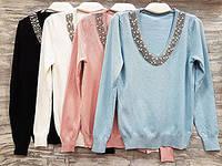 Пуловер женский оптом цвета в ассортименте воротник украшен бижутерией 897