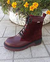 Бордовые женские ботинки, фаричная обувь, фото 1