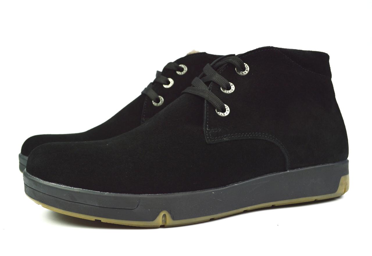 d1b2c59dd Черные замшевые мужские зимние ботинки WRIGHT на меху (шерсть ...
