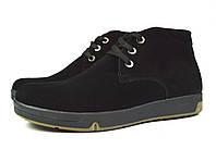 Черные замшевые мужские зимние ботинки WRIGHT на меху (шерсть)