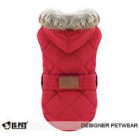 Курточка парка для собаки с капюшоном-Красный-L, фото 1