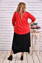 Женское платье макси 0623 цвет красный / размер 42-74 / батальное, фото 3