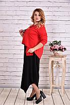 Женское платье макси 0623 цвет красный / размер 42-74 / батальное, фото 2
