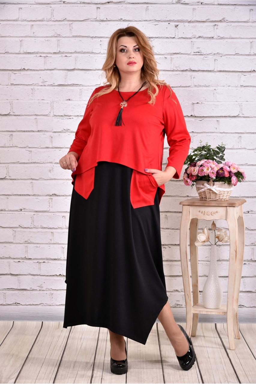 Женское платье макси 0623 цвет красный / размер 42-74 / батальное