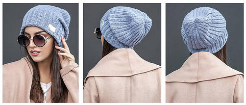 Зимняя вязаная шапка с напуском, фото 2