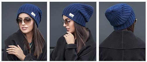 Зимняя вязаная шапка с напуском, фото 3
