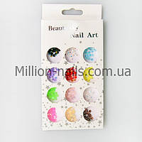 Набор объемных украшений для дизайна ногтей, цветные камни