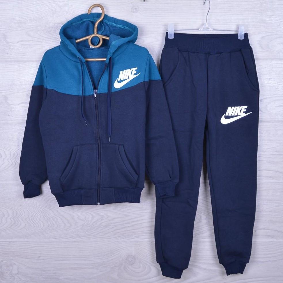 """Утепленный спортивный костюм на флисе """"Nike реплика"""" для мальчиков. 7-12 лет. Синий+аквамарин. Оптом"""