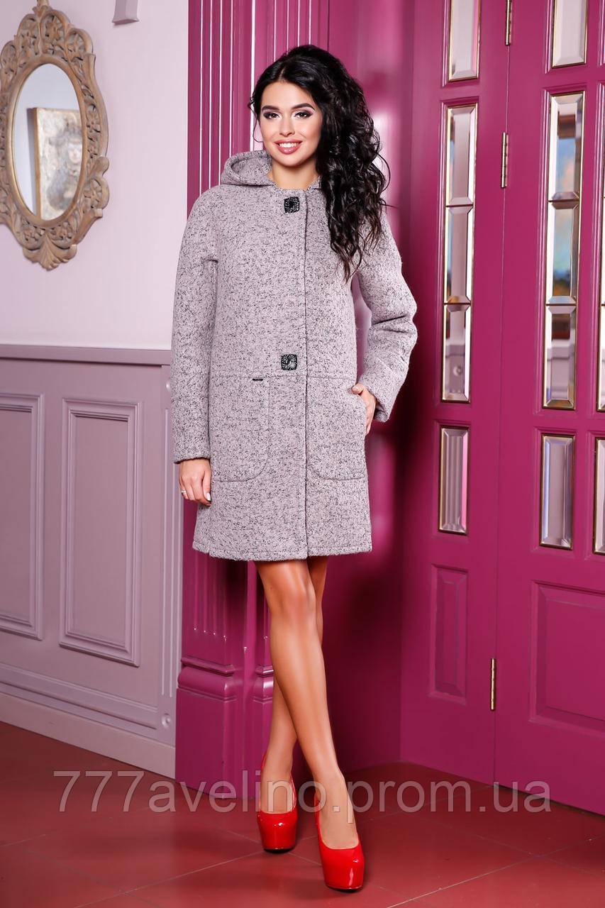 Пальто женское модное с капюшоном демисезонное
