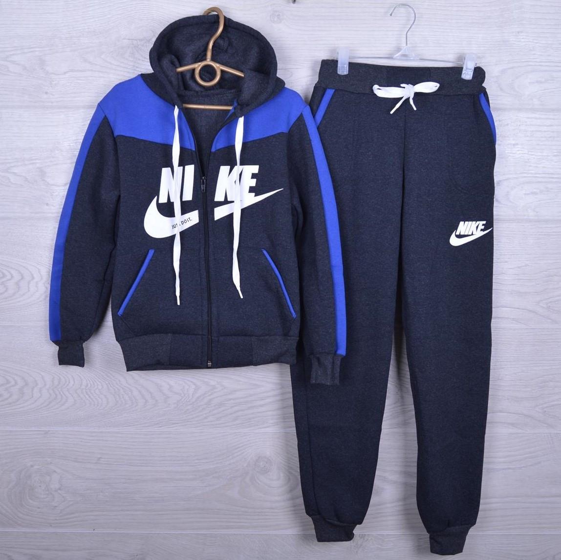 """Утепленный спортивный костюм на флисе """"Nike реплика"""" для мальчиков. 7-12 лет. Темно-серый+электрик. Оптом"""