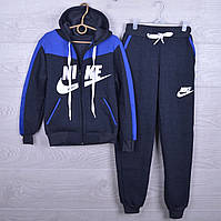 """Утепленный спортивный костюм на флисе """"Nike реплика"""" для мальчиков. 7-12 лет. Темно-серый+электрик. Оптом, фото 1"""