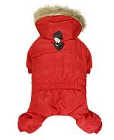 Комбинезон для собак с капюшоном-Красный