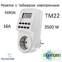 Розетка з електронним таймером Feron TM22 16A тижнева, фото 1