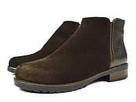 Шикарные коричневые женские осенние кожаные ботинки Ari Andano для повседневной носки ( новинка весна, осень )