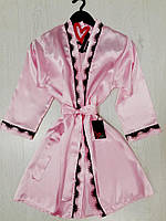 Женская одежда для дома, атласный халат с кружевом.