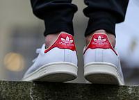 Кроссовки Стэн Смит Adidas Stan Smith (с красным) СКИДКА! , фото 1