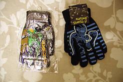 Перчатки вязаные детские на байке  набор 2 пары лот