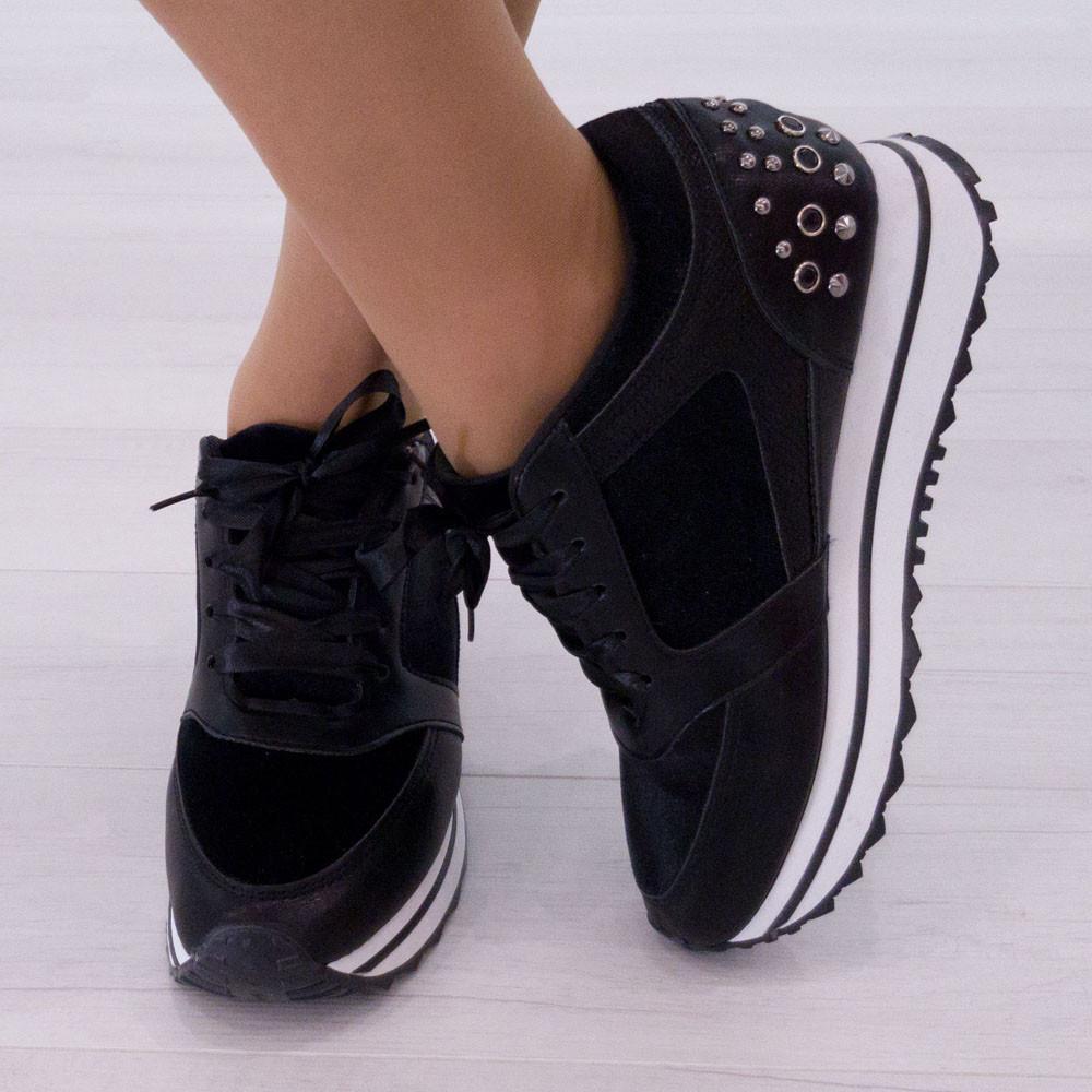 Кроссовки Woman's heel из искусственной кожи черные (О-811)