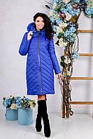 Пуховик стеганный женский зимний с натуральным мехом
