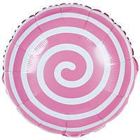 Шарик фольгированный круглый Спираль розовая, диаметр 45 см