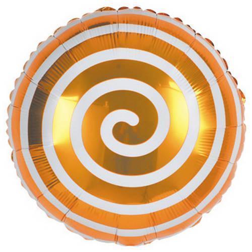 Шар фольгированный круглый Спираль золотая, 45 см