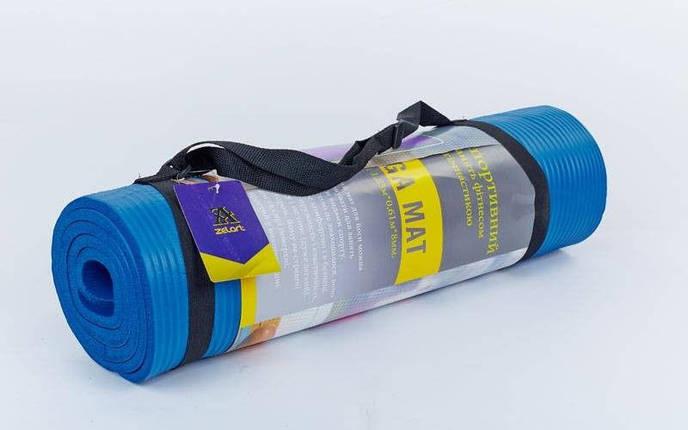 Коврик для фитнеса, каремат NBR 8мм с фиксирующей резинкой YG-2778  s, фото 2
