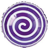 Шарик фольгированный круглый Спираль фиолетовая, диаметр 45 см