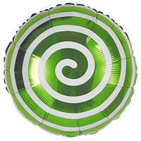 Шар фольгированный круглый Спираль зелёная, 45 см