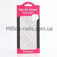 Кружево для дизайна ногтей (серебро)разные 12 шт , фото 1